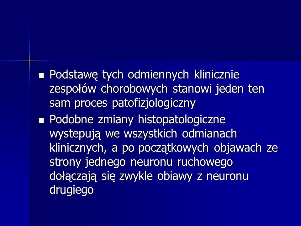 Obraz kliniczny postępujacego porażenia opuszki Rozpoczyna się od uszkodzenia rdzenia przedłużonego i postepujacych zaburzeń opuszkowych(zespół opuszkowy i rzekomoopuszkowy) Rozpoczyna się od uszkodzenia rdzenia przedłużonego i postepujacych zaburzeń opuszkowych(zespół opuszkowy i rzekomoopuszkowy) Mowa staje się niewyrazna, pojawiaja się zaburzenia połykania, krztuszenie się Mowa staje się niewyrazna, pojawiaja się zaburzenia połykania, krztuszenie się Można zwykle stwierdzic : drżenie włókienkowe w obrębie języka, jego zbaczanie, upośledzenie ruchów podniebienia miekkiego i języka, czasem niedowład obwodowy n.VII Można zwykle stwierdzic : drżenie włókienkowe w obrębie języka, jego zbaczanie, upośledzenie ruchów podniebienia miekkiego i języka, czasem niedowład obwodowy n.VII Niedowład osrodkowy n.VII, żywy odruch żwaczowy oraz smiech i płacz przymusowy wskazuja na zajecie układu piramidowego w procesie chorobowym Niedowład osrodkowy n.VII, żywy odruch żwaczowy oraz smiech i płacz przymusowy wskazuja na zajecie układu piramidowego w procesie chorobowym Bełkotliwa dyzartryczna mowa, w miare postepu dochodzi do niemożności mówienia, jedzenia, łykania Bełkotliwa dyzartryczna mowa, w miare postepu dochodzi do niemożności mówienia, jedzenia, łykania Objawy istotne diagnostycznie : Objawy istotne diagnostycznie : 1.