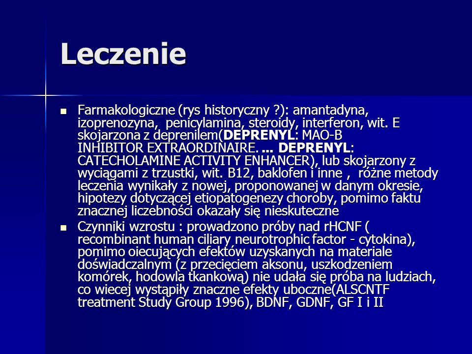 Leczenie Farmakologiczne (rys historyczny ?): amantadyna, izoprenozyna, penicylamina, steroidy, interferon, wit. E skojarzona z deprenilem(DEPRENYL: M