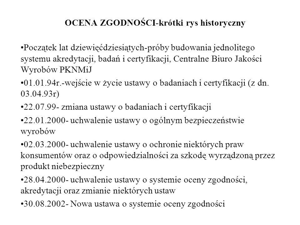 AKTY PRAWNE ZWIĄZANE Z OZNAKOWANIEM CE od dnia wstąpienia do Unii Europejskiej (1 maja 2004r.) w Polsce zaczęły obowiązywać polskie akty prawne, które przeniosły do polskiego prawa dyrektywy Nowego Podejścia przewidujące umieszczanie na wyrobach oznakowania CE; podstawowym aktem prawnym, który umożliwił wprowadzenie do krajowego prawa dyrektyw związanych z oznakowaniem CE jest ustawa o systemie oceny zgodności z 30 sierpnia 2002r.