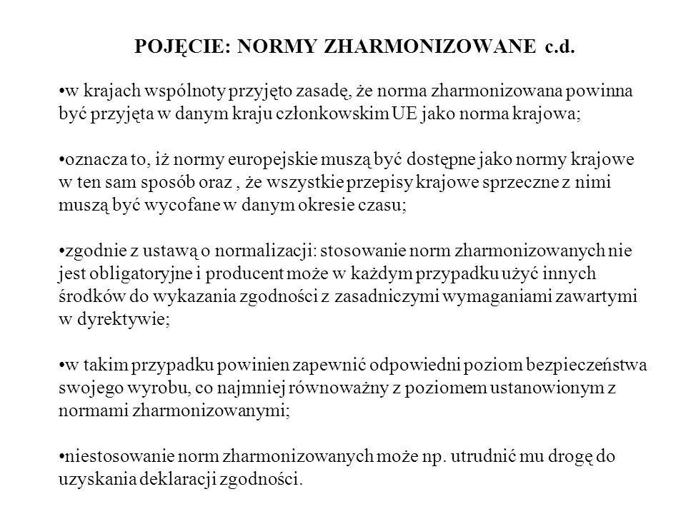 POJĘCIE: NORMY ZHARMONIZOWANE c.d. w krajach wspólnoty przyjęto zasadę, że norma zharmonizowana powinna być przyjęta w danym kraju członkowskim UE jak