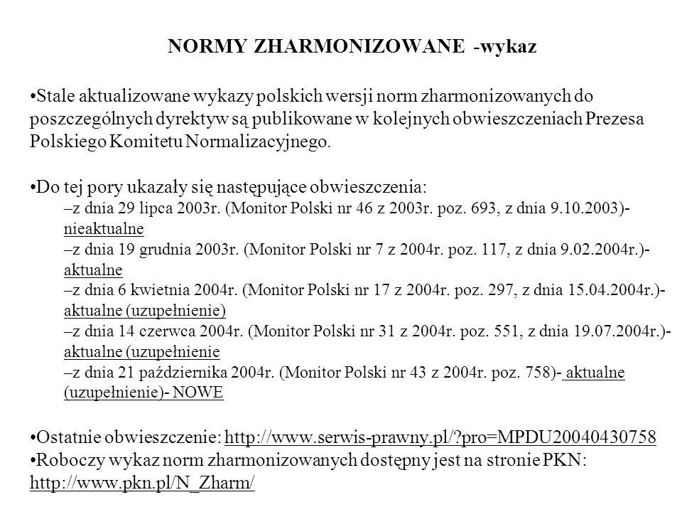 NORMY ZHARMONIZOWANE -wykaz Stale aktualizowane wykazy polskich wersji norm zharmonizowanych do poszczególnych dyrektyw są publikowane w kolejnych obw