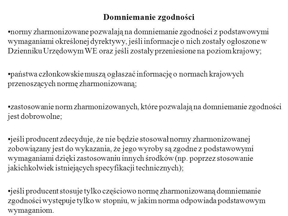 Domniemanie zgodności normy zharmonizowane pozwalają na domniemanie zgodności z podstawowymi wymaganiami określonej dyrektywy, jeśli informacje o nich