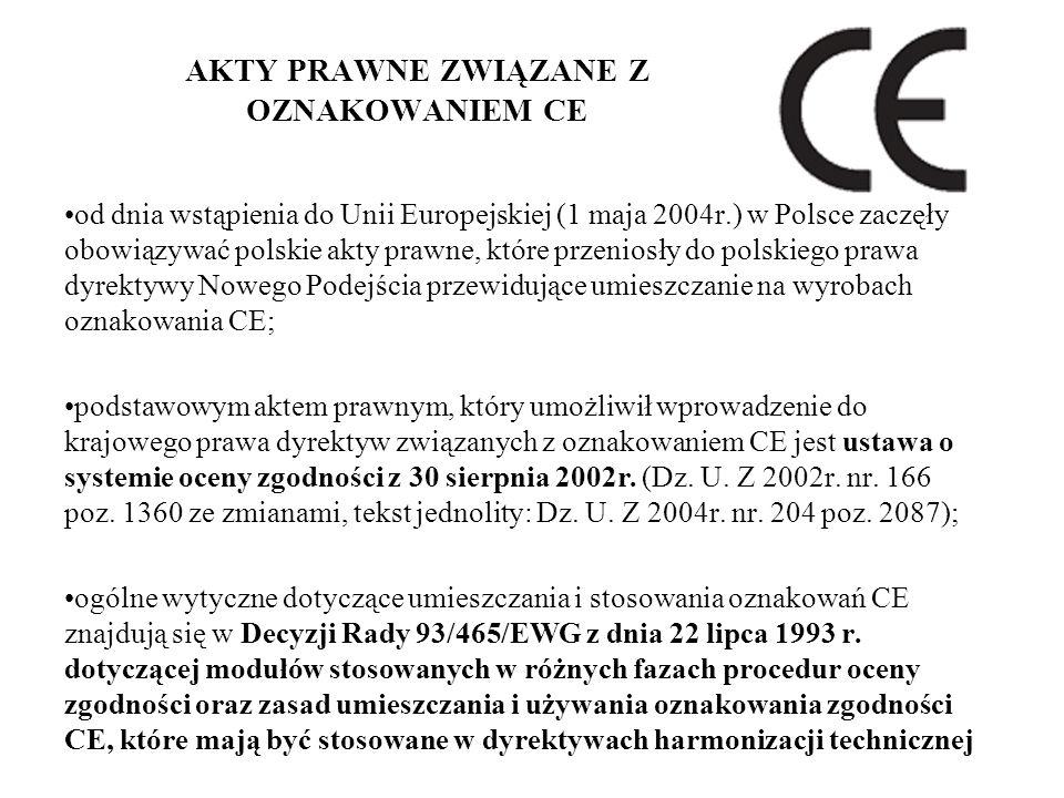 AKTY PRAWNE ZWIĄZANE Z OZNAKOWANIEM CE od dnia wstąpienia do Unii Europejskiej (1 maja 2004r.) w Polsce zaczęły obowiązywać polskie akty prawne, które