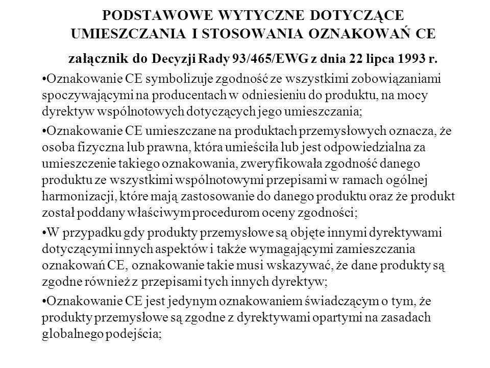 PODSTAWOWE WYTYCZNE DOTYCZĄCE UMIESZCZANIA I STOSOWANIA OZNAKOWAŃ CE załącznik do Decyzji Rady 93/465/EWG z dnia 22 lipca 1993 r. Oznakowanie CE symbo