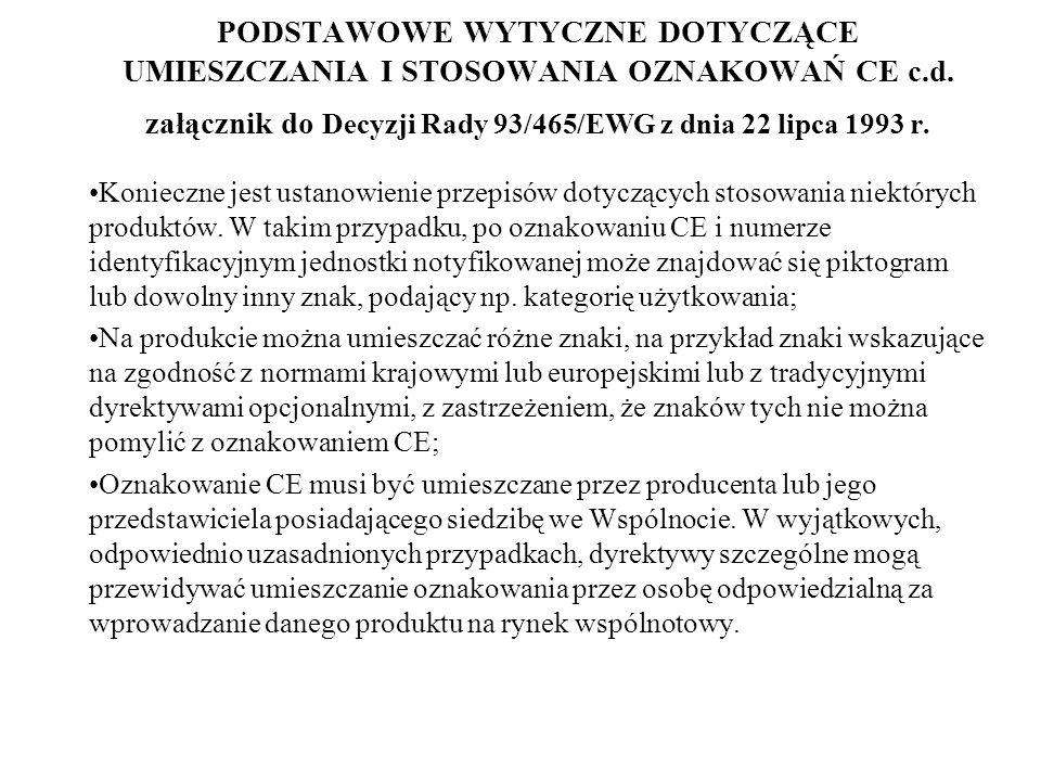 PODSTAWOWE WYTYCZNE DOTYCZĄCE UMIESZCZANIA I STOSOWANIA OZNAKOWAŃ CE c.d. załącznik do Decyzji Rady 93/465/EWG z dnia 22 lipca 1993 r. Konieczne jest