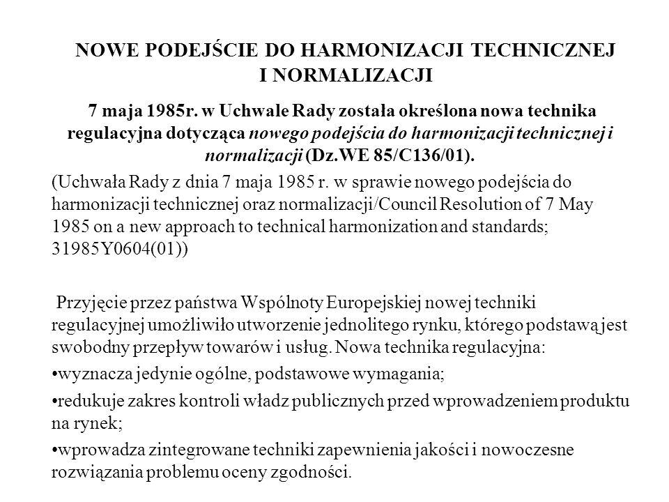 NOWE PODEJŚCIE DO HARMONIZACJI TECHNICZNEJ I NORMALIZACJI 7 maja 1985r. w Uchwale Rady została określona nowa technika regulacyjna dotycząca nowego po