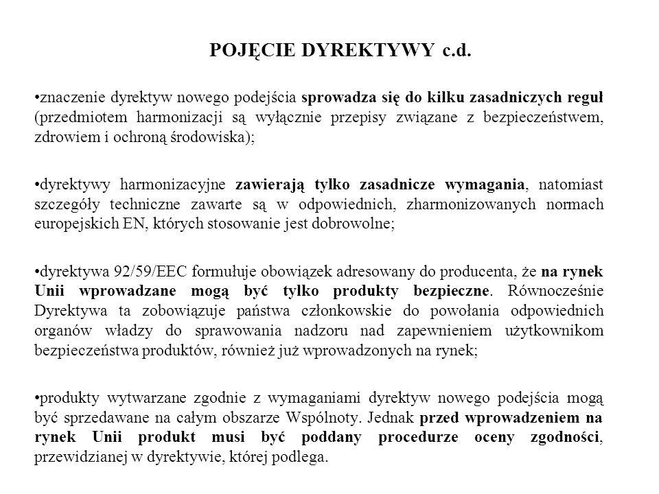 POJĘCIE DYREKTYWY c.d. znaczenie dyrektyw nowego podejścia sprowadza się do kilku zasadniczych reguł (przedmiotem harmonizacji są wyłącznie przepisy z