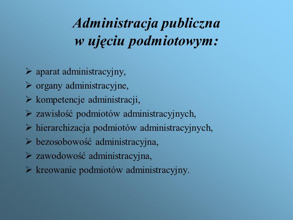 Podział administracji publicznej Administracja rządowa: – ZESPOLONEJ – działającej pod kierownictwem wojewody – policja, służby, –NIEZESPOLONEJ – takiej, które terenowe organy podlegają bezpośrednio określonemu ministrowi – np.