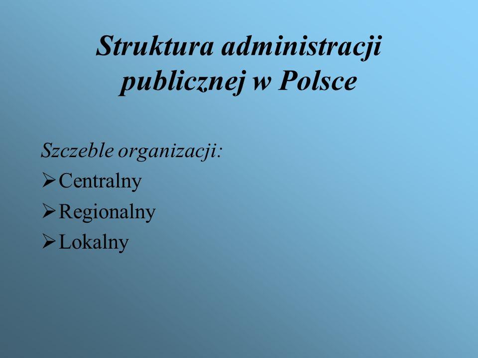 System administracji publicznej tworzą: Centrum rządowe Ministerstwa Urzędy centralne Państwowe jednostki organizacyjne Terenowa rządowa administracja ogólna Terenowe organy administracji zespolonej Terenowe organy administracji niezespolonej