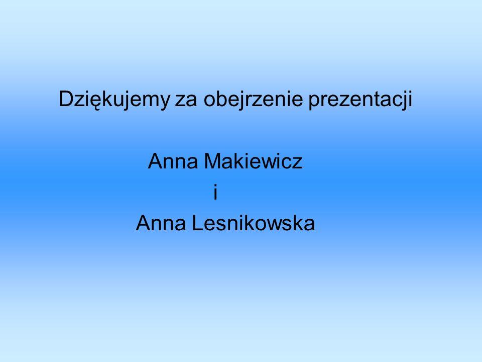 Dziękujemy za obejrzenie prezentacji Anna Makiewicz i Anna Lesnikowska