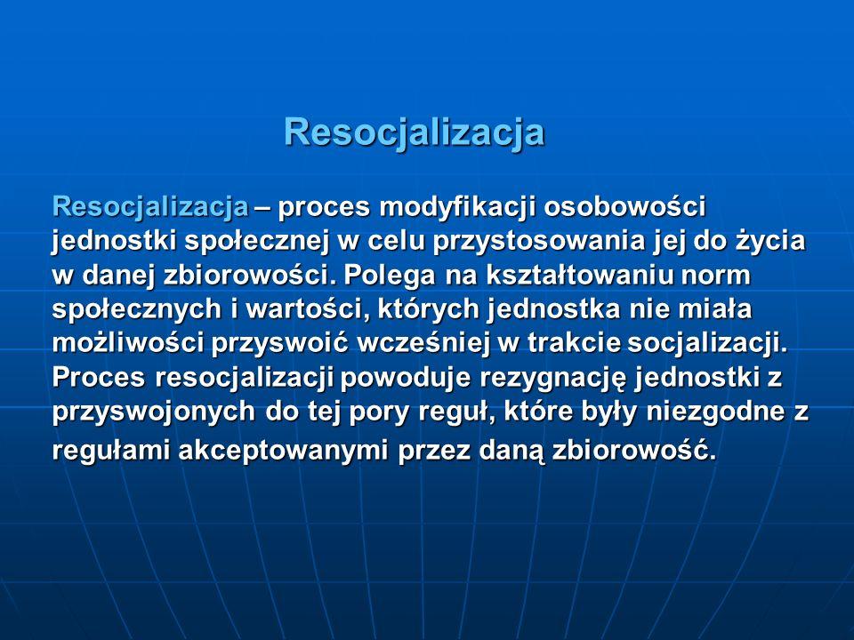 Resocjalizacja Resocjalizacja – proces modyfikacji osobowości jednostki społecznej w celu przystosowania jej do życia w danej zbiorowości. Polega na k