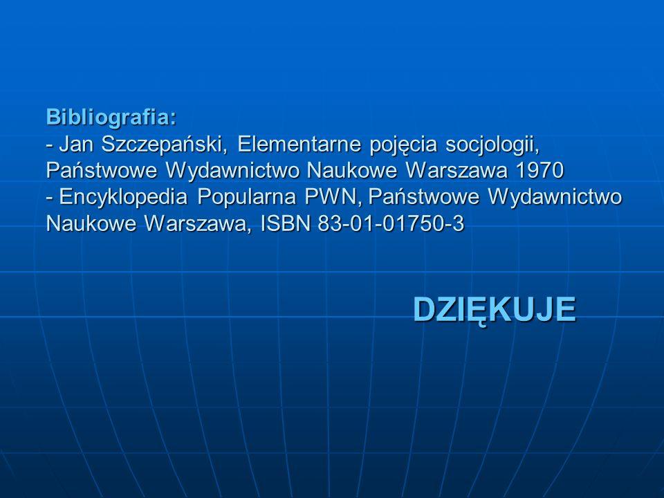 Bibliografia: - Jan Szczepański, Elementarne pojęcia socjologii, Państwowe Wydawnictwo Naukowe Warszawa 1970 - Encyklopedia Popularna PWN, Państwowe Wydawnictwo Naukowe Warszawa, ISBN 83-01-01750-3 DZIĘKUJE