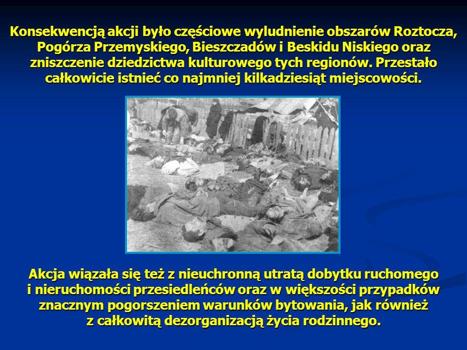 Konsekwencją akcji było częściowe wyludnienie obszarów Roztocza, Pogórza Przemyskiego, Bieszczadów i Beskidu Niskiego oraz zniszczenie dziedzictwa kul