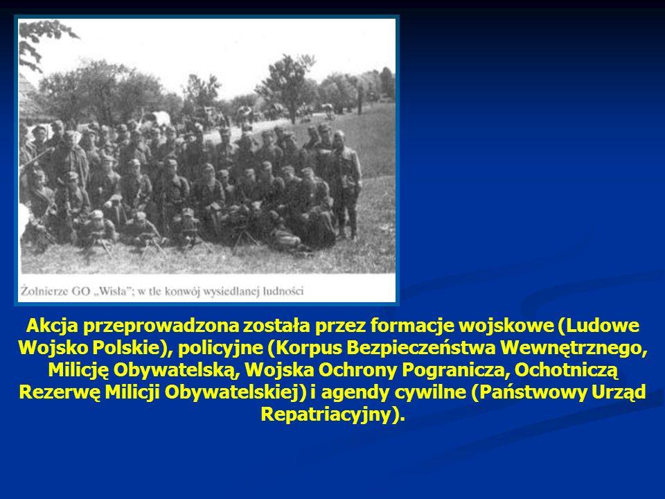 Akcja przeprowadzona została przez formacje wojskowe (Ludowe Wojsko Polskie), policyjne (Korpus Bezpieczeństwa Wewnętrznego, Milicję Obywatelską, Wojs