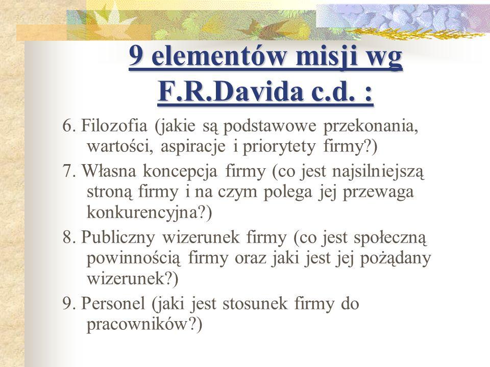 9 elementów misji wg F.R.Davida c.d. : 6. Filozofia (jakie są podstawowe przekonania, wartości, aspiracje i priorytety firmy?) 7. Własna koncepcja fir