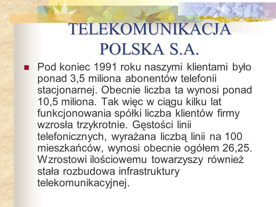 TELEKOMUNIKACJA POLSKA S.A. Pod koniec 1991 roku naszymi klientami było ponad 3,5 miliona abonentów telefonii stacjonarnej. Obecnie liczba ta wynosi p