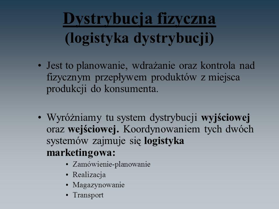 Dystrybucja fizyczna (logistyka dystrybucji) Jest to planowanie, wdrażanie oraz kontrola nad fizycznym przepływem produktów z miejsca produkcji do kon