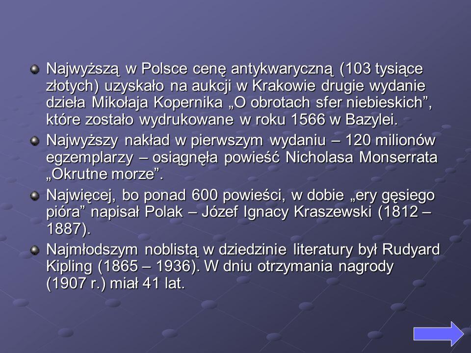 Najwyższą w Polsce cenę antykwaryczną (103 tysiące złotych) uzyskało na aukcji w Krakowie drugie wydanie dzieła Mikołaja Kopernika O obrotach sfer nie