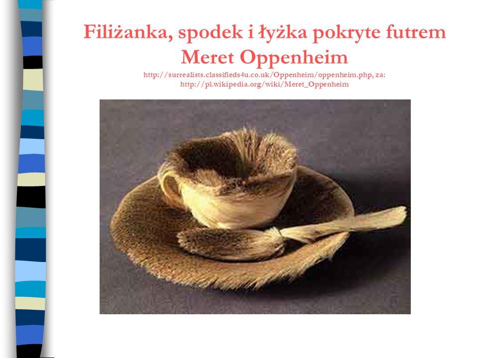 Filiżanka, spodek i łyżka pokryte futrem Meret Oppenheim http://surrealists.classifieds4u.co.uk/Oppenheim/oppenheim.php, za: http://pl.wikipedia.org/w