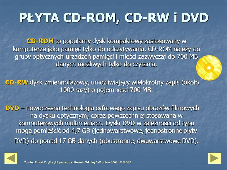 PŁYTA CD-ROM, CD-RW i DVD CD-ROM to popularny dysk kompaktowy zastosowany w komputerze jako pamięć tylko do odczytywania. CD-ROM należy do grupy optyc