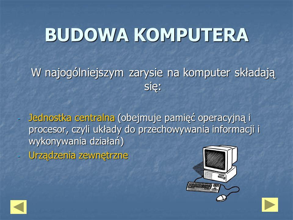 BUDOWA KOMPUTERA W najogólniejszym zarysie na komputer składają się: - Jednostka centralna (obejmuje pamięć operacyjną i procesor, czyli układy do prz