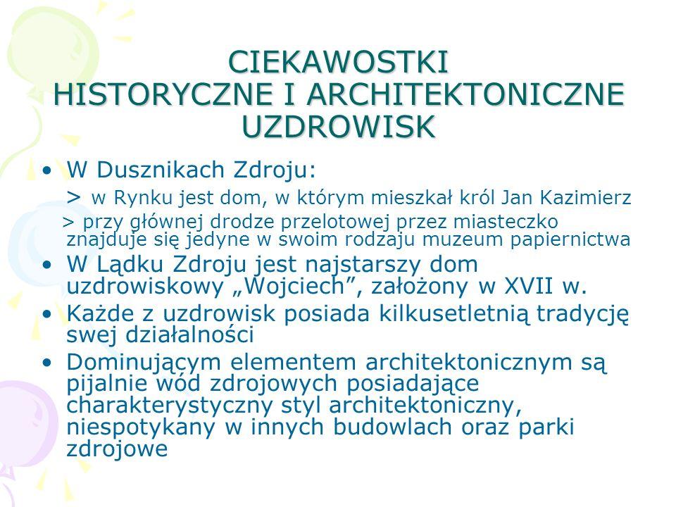 CIEKAWOSTKI HISTORYCZNE I ARCHITEKTONICZNE UZDROWISK W Dusznikach Zdroju: > w Rynku jest dom, w którym mieszkał król Jan Kazimierz > przy głównej drod