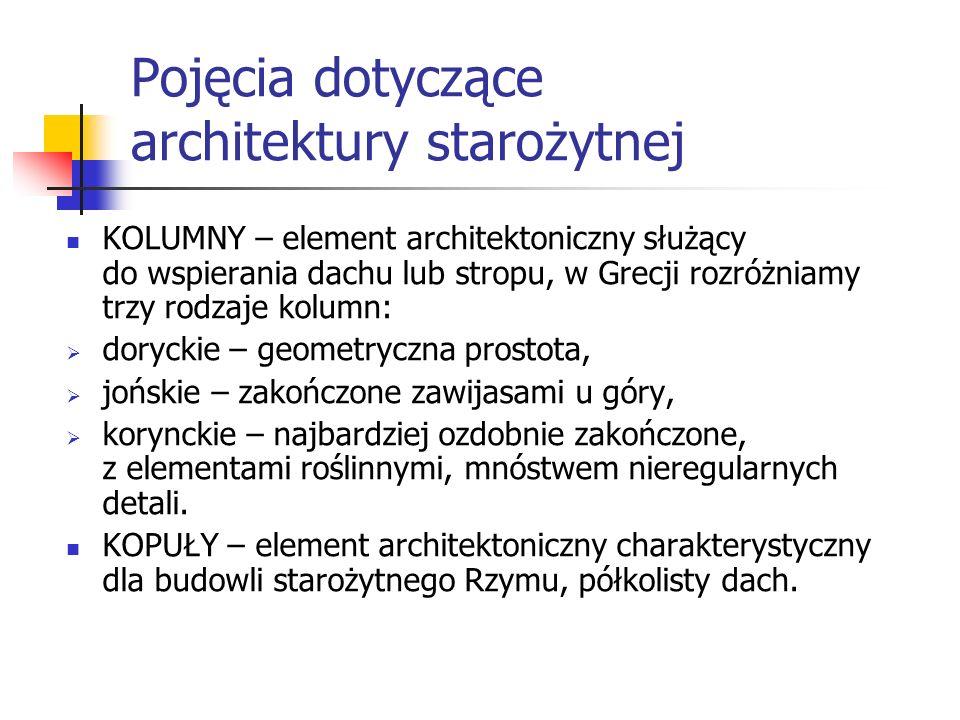 Pojęcia dotyczące architektury starożytnej KOLUMNY – element architektoniczny służący do wspierania dachu lub stropu, w Grecji rozróżniamy trzy rodzaj