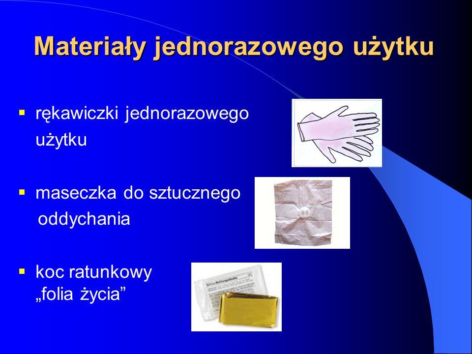 Materiały jednorazowego użytku rękawiczki jednorazowego użytku maseczka do sztucznego oddychania koc ratunkowy folia życia