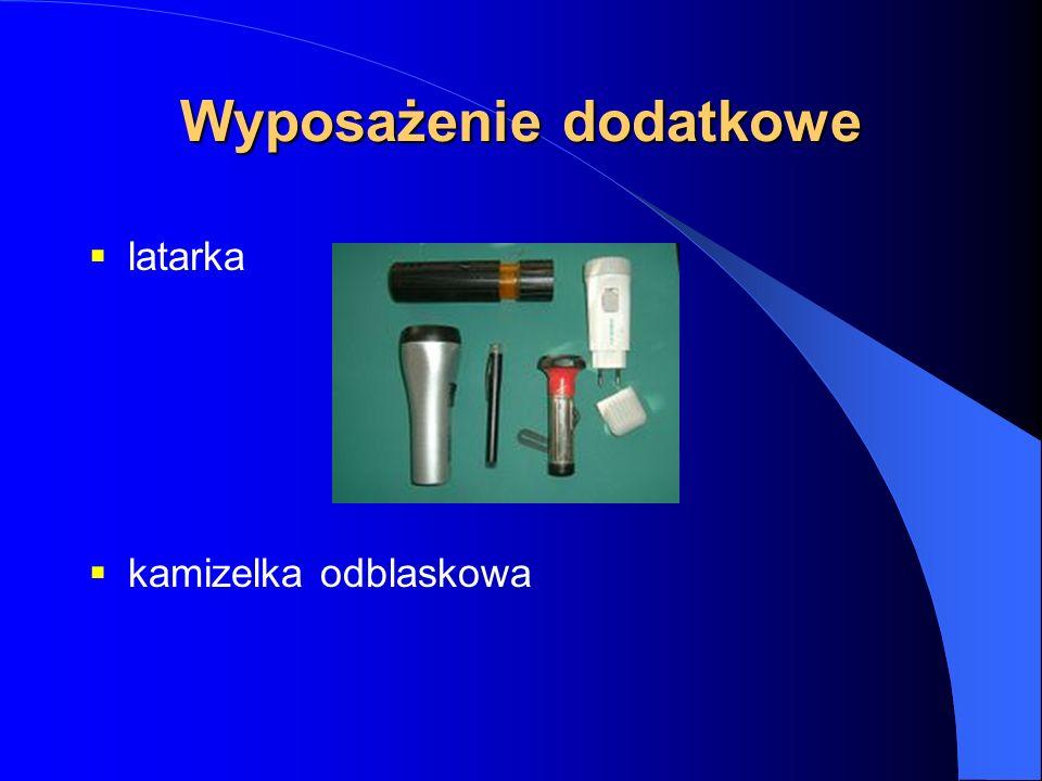 Wyposażenie dodatkowe latarka kamizelka odblaskowa
