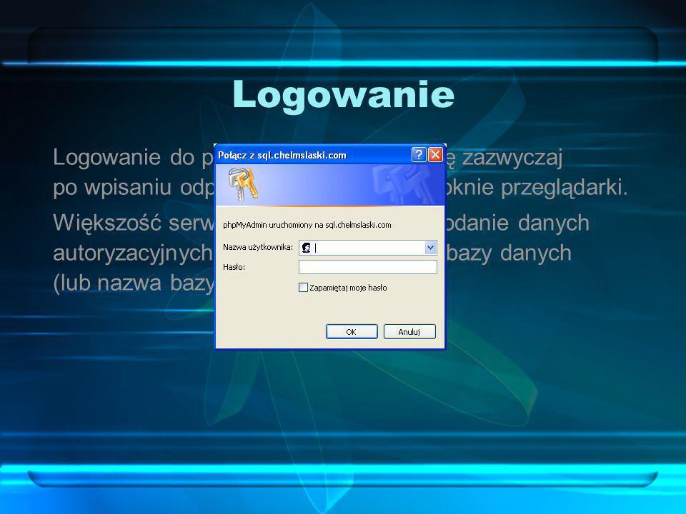 Logowanie Logowanie do phpMyAdmin odbywa się zazwyczaj po wpisaniu odpowiedniego adresu w oknie przeglądarki. Większość serwerów od razu prosi o podan