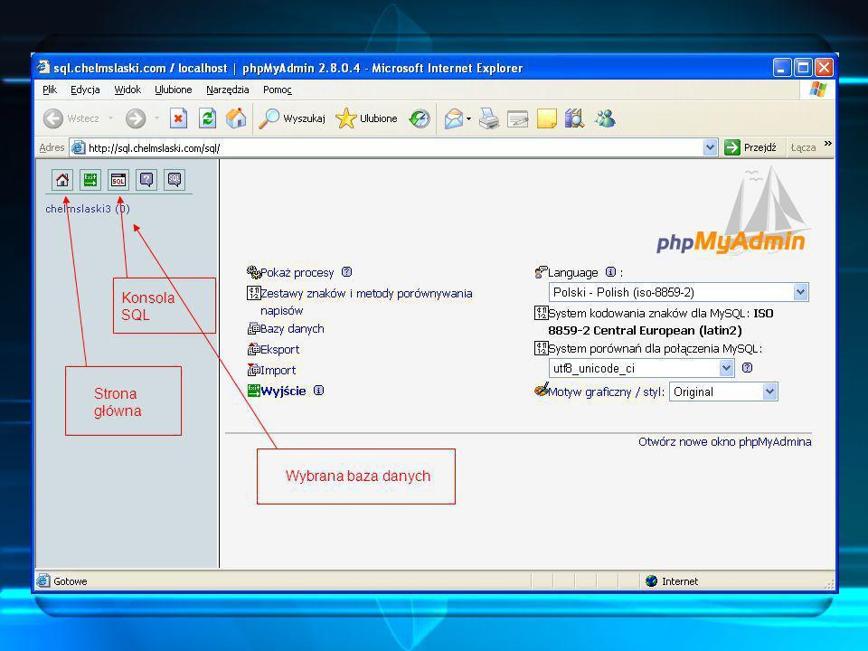 Panel główny Po prawidłowym zalogowaniu się, ukazuje się użytkownikowi panel główny. Stąd ma dostęp do prawie wszystkich opcji, które oferuje phpMyAdm
