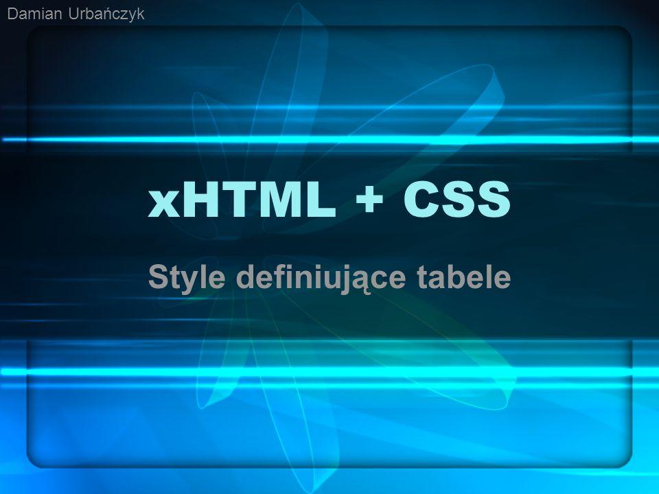 xHTML + CSS Style definiujące tabele Damian Urbańczyk