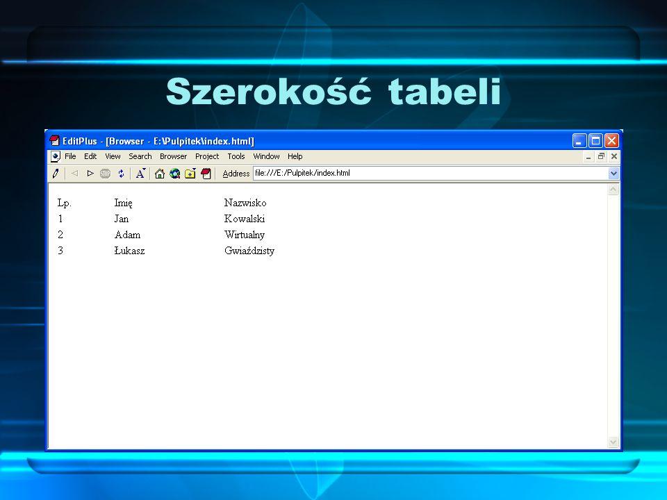 Szerokość tabeli Aby za pomocą stylów ustawić szerokość tabeli, używamy width, podając szerokość w pikselach lub procentach.