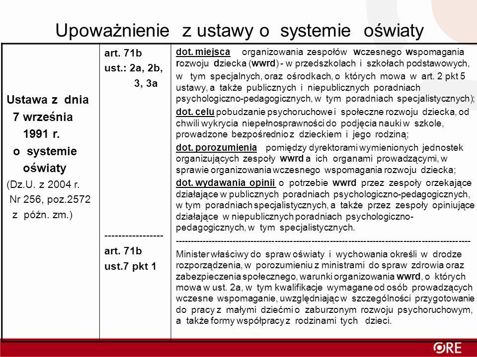 Upoważnienie z ustawy o systemie oświaty Ustawa z dnia 7 września 1991 r. o systemie oświaty (Dz.U. z 2004 r. Nr 256, poz.2572 z późn. zm.) art. 71b u