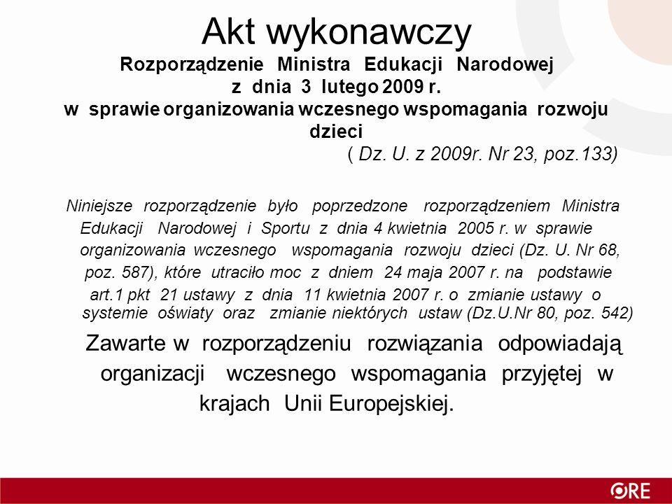 Akt wykonawczy Rozporządzenie Ministra Edukacji Narodowej z dnia 3 lutego 2009 r. w sprawie organizowania wczesnego wspomagania rozwoju dzieci ( Dz. U