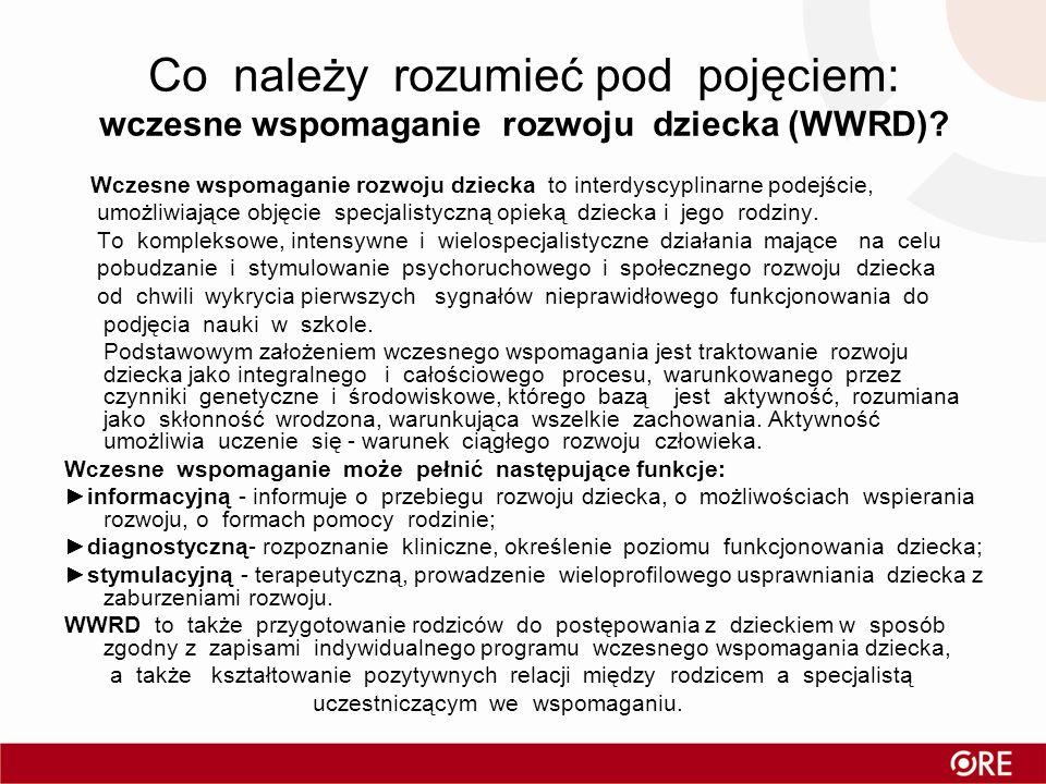 Co należy rozumieć pod pojęciem: wczesne wspomaganie rozwoju dziecka (WWRD)? Wczesne wspomaganie rozwoju dziecka to interdyscyplinarne podejście, umoż