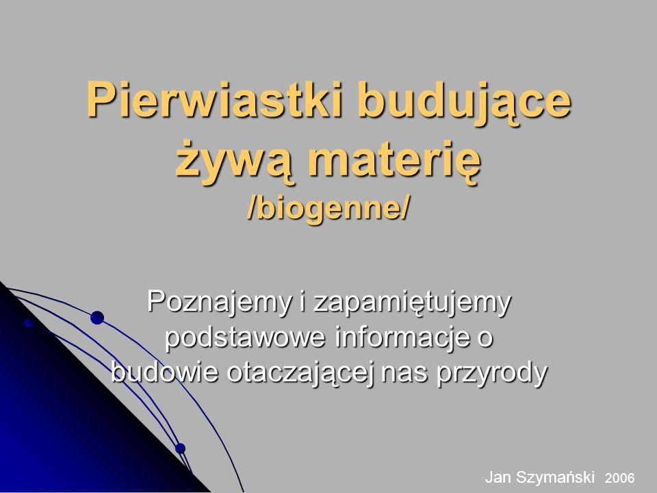 Pierwiastki budujące żywą materię /biogenne/ Poznajemy i zapamiętujemy podstawowe informacje o budowie otaczającej nas przyrody Jan Szymański 2006