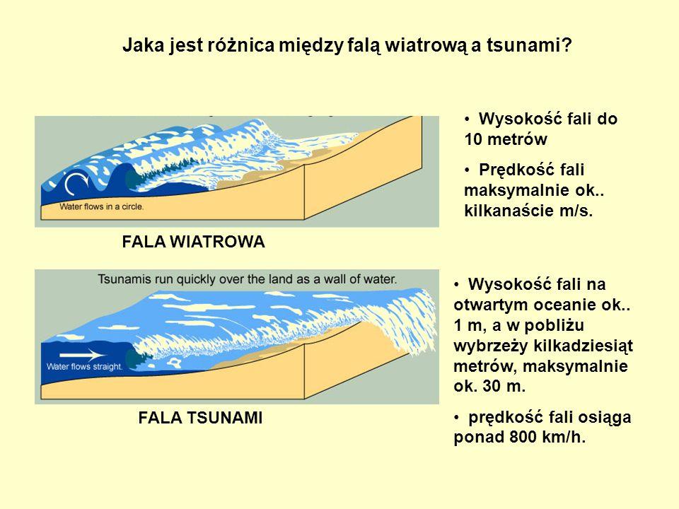 Jaka jest różnica między falą wiatrową a tsunami? FALA TSUNAMI FALA WIATROWA Wysokość fali do 10 metrów Prędkość fali maksymalnie ok.. kilkanaście m/s