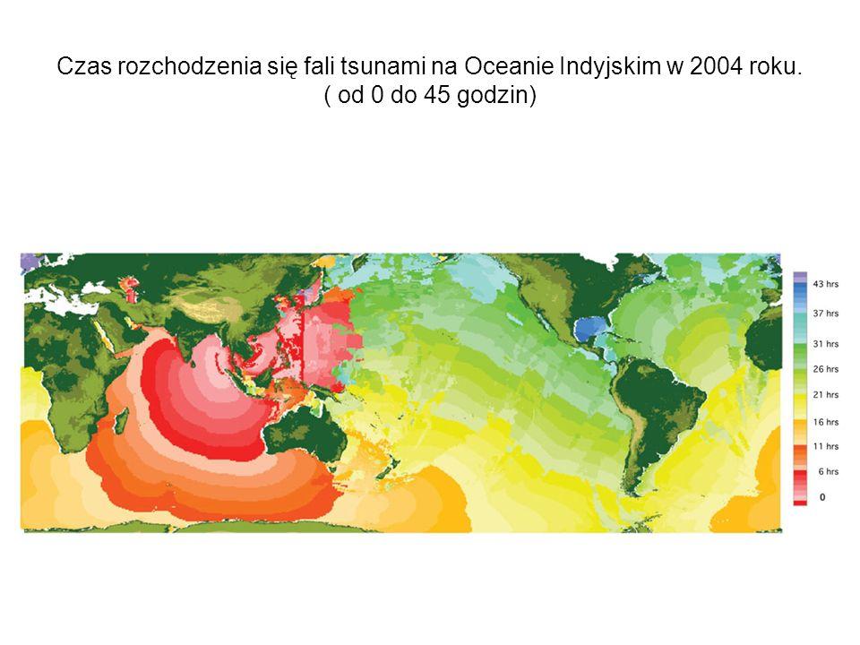 Czas rozchodzenia się fali tsunami na Oceanie Indyjskim w 2004 roku. ( od 0 do 45 godzin)
