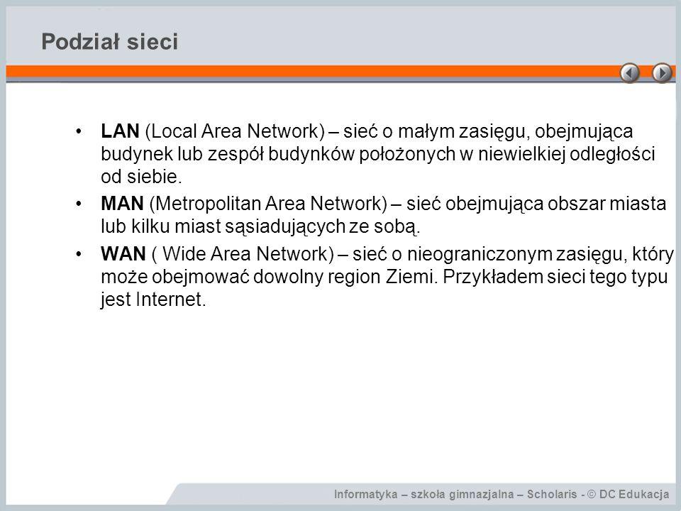 Informatyka – szkoła gimnazjalna – Scholaris - © DC Edukacja Podział sieci LAN (Local Area Network) – sieć o małym zasięgu, obejmująca budynek lub zes