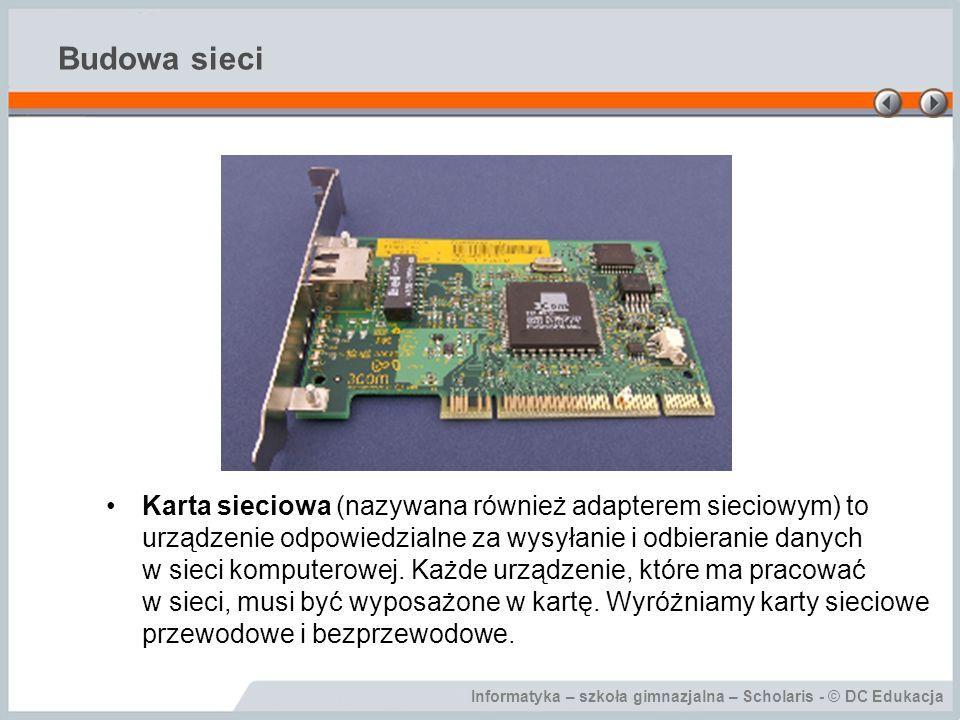 Informatyka – szkoła gimnazjalna – Scholaris - © DC Edukacja Budowa sieci W sieciach przewodowych medium transmisyjnym jest kabel.
