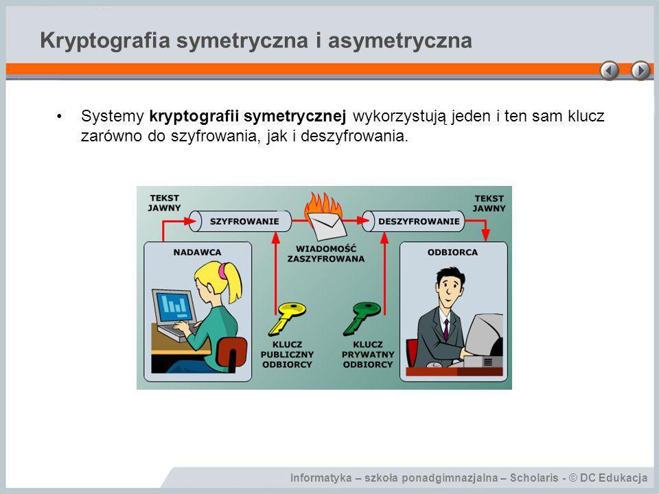 Informatyka – szkoła ponadgimnazjalna – Scholaris - © DC Edukacja Kryptografia symetryczna i asymetryczna Systemy kryptografii symetrycznej wykorzystu