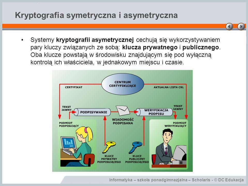 Informatyka – szkoła ponadgimnazjalna – Scholaris - © DC Edukacja Kryptografia symetryczna i asymetryczna Systemy kryptografii asymetrycznej cechują s