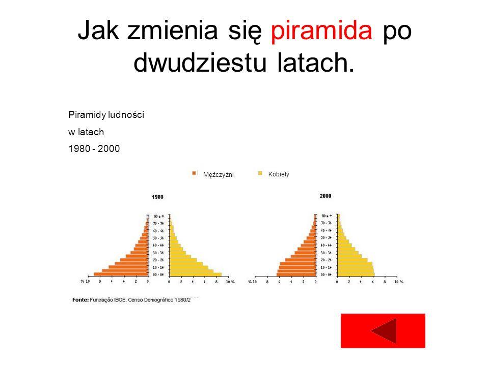 Jak zmienia się piramida po dwudziestu latach. Piramidy ludności w latach 1980 - 2000 Mężczyźni Kobiety