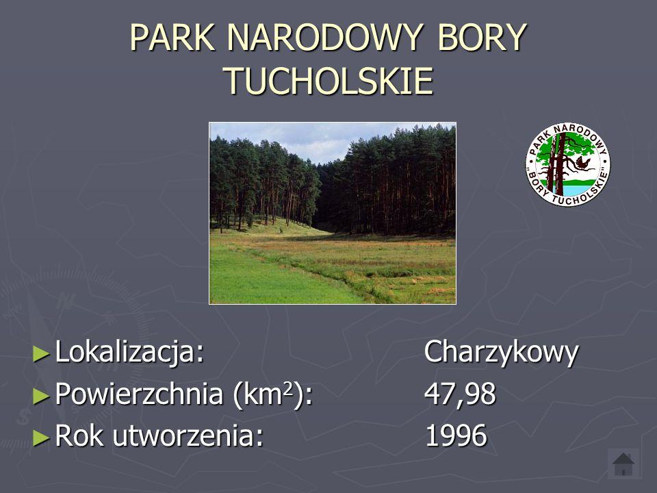 PARK NARODOWY BORY TUCHOLSKIE Lokalizacja: Charzykowy Lokalizacja: Charzykowy Powierzchnia (km 2 ): 47,98 Powierzchnia (km 2 ): 47,98 Rok utworzenia: 1996 Rok utworzenia: 1996