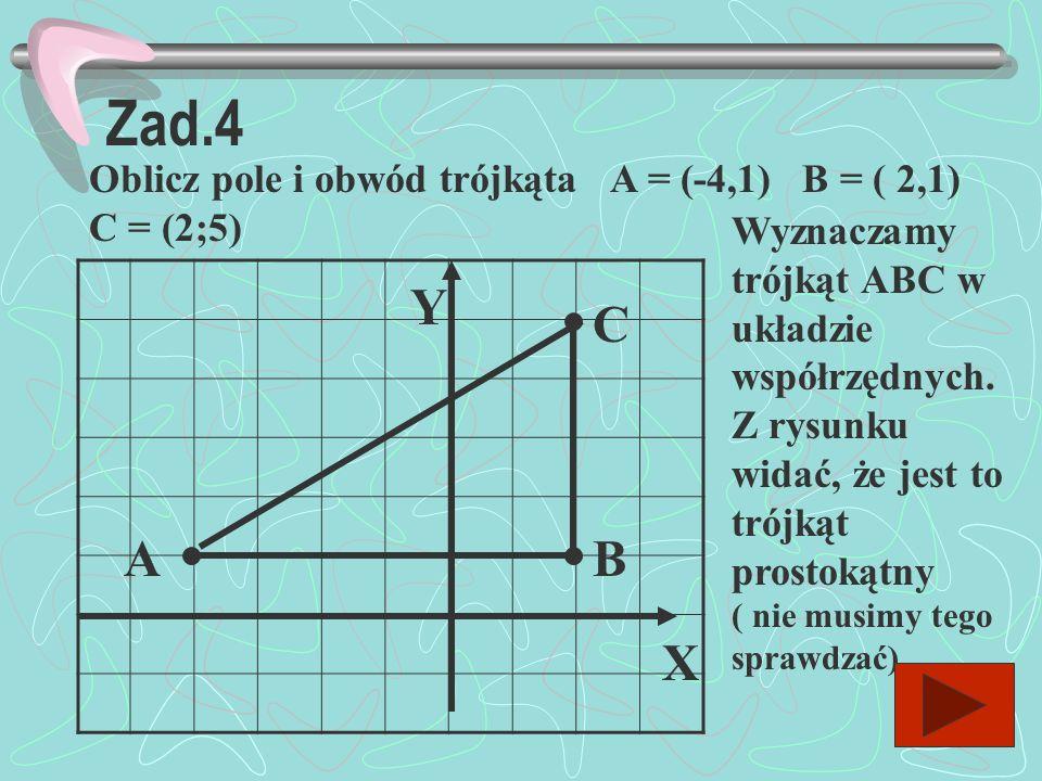Cd... Obliczamy pole i obwód Odp : Pole trójkąta wynosi 24cm 2 a obwód 24cm.