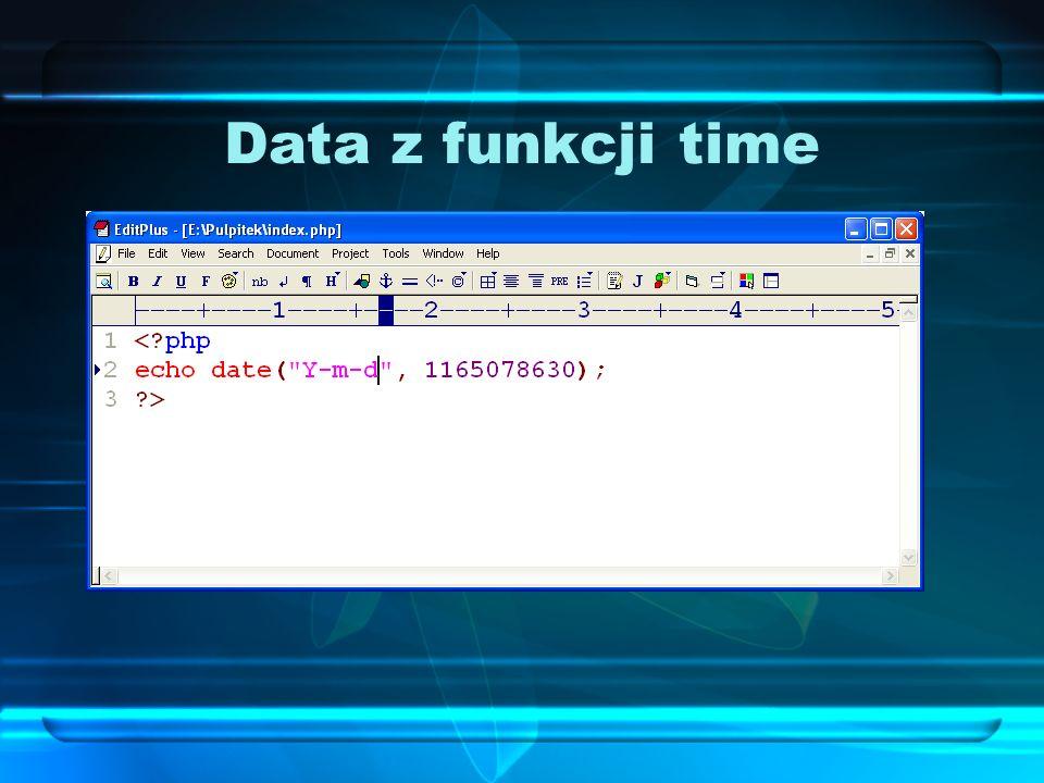Data z funkcji time Za pomocą funkcji time możemy uzyskać wartość liczbową sekund, które upłynęły od rozpoczęcia epoki Unix, liczonej od 1 stycznia 19