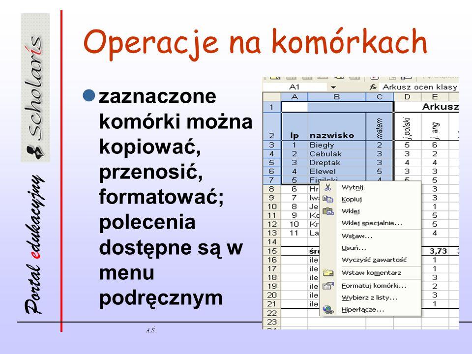 Portal edukacyjny A.Ś. Operacje na komórkach zaznaczone komórki można kopiować, przenosić, formatować; polecenia dostępne są w menu podręcznym