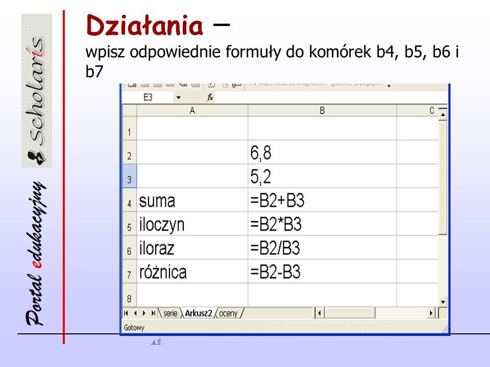 Portal edukacyjny A.Ś. Działania – wpisz odpowiednie formuły do komórek b4, b5, b6 i b7