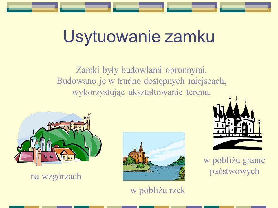 Usytuowanie zamku Zamki były budowlami obronnymi. Budowano je w trudno dostępnych miejscach, wykorzystując ukształtowanie terenu. na wzgórzach w pobli